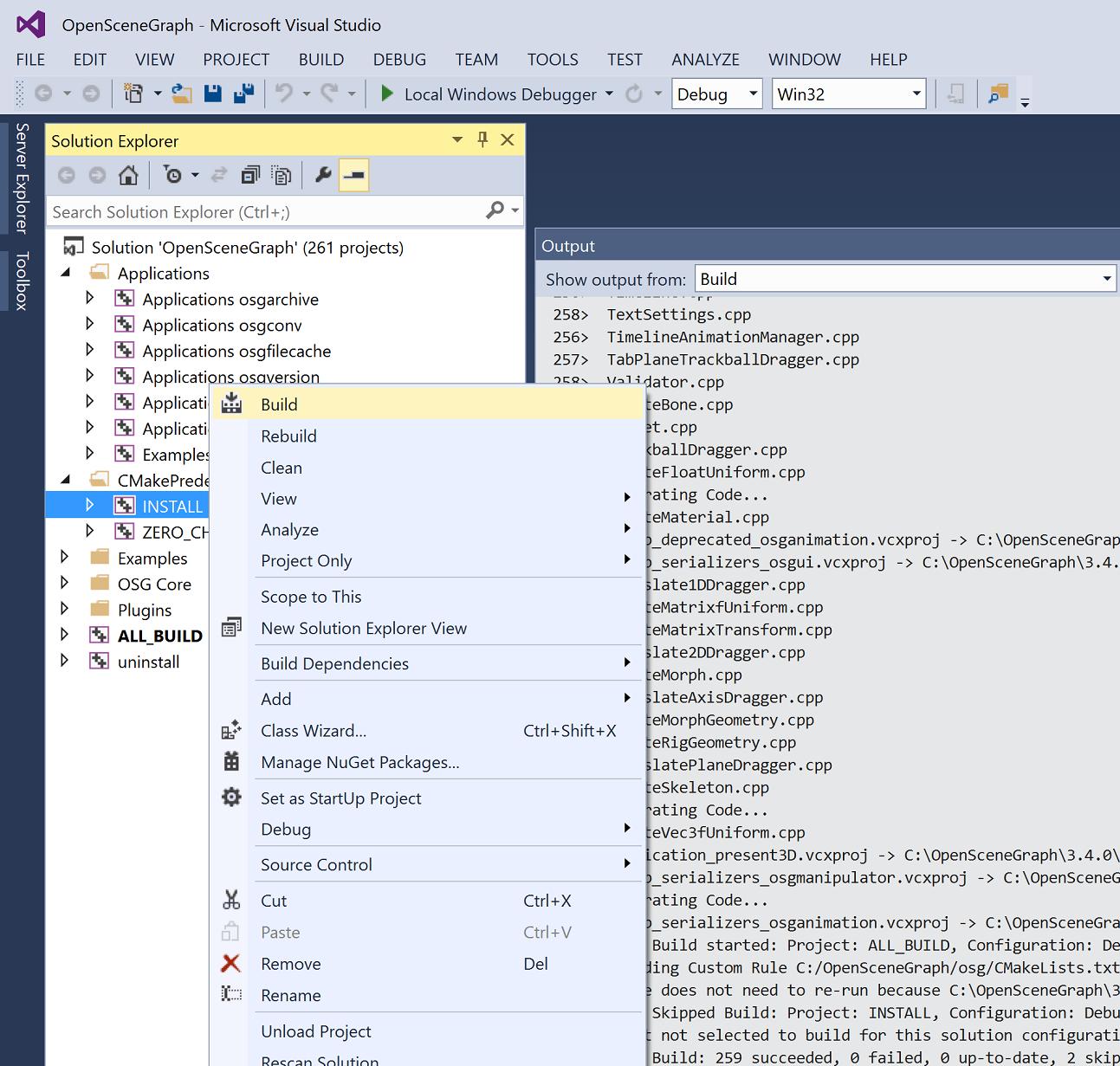Quick steps for OpenSceneGraph installation in Windows Victoria Rudakova